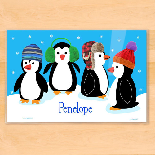 Chilly Penguins Personalized Kids Holiday Placemat