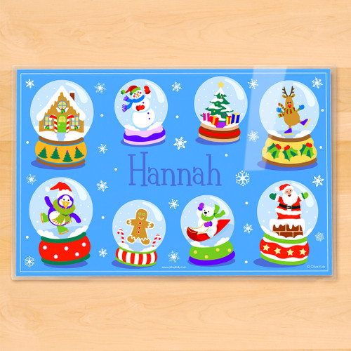 Winter Snow Globes Personalized Kids Holiday Placemat
