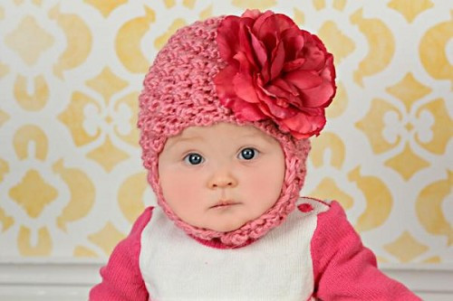 Candy Pink Pretty Pixie Winter Hat with Raspberry Large Rose