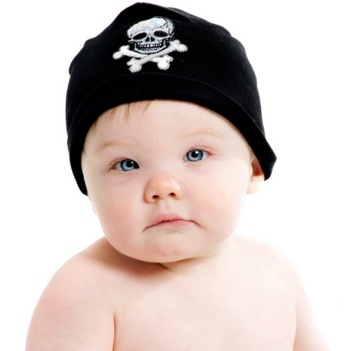 Boy's Black Applique Cotton Hat with Black Skull
