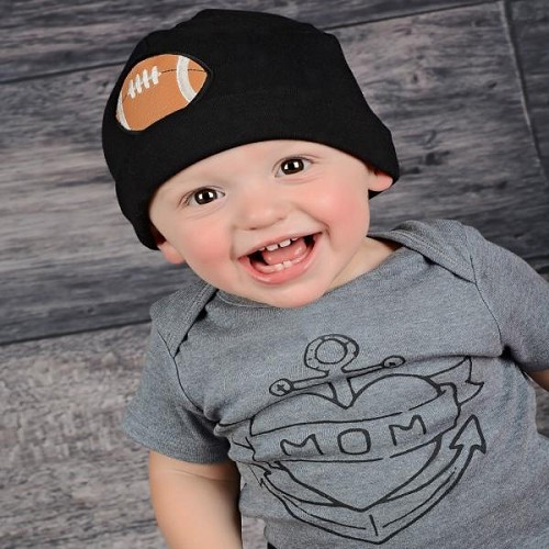 Boy's Black Applique Cotton Hat with Brown Football