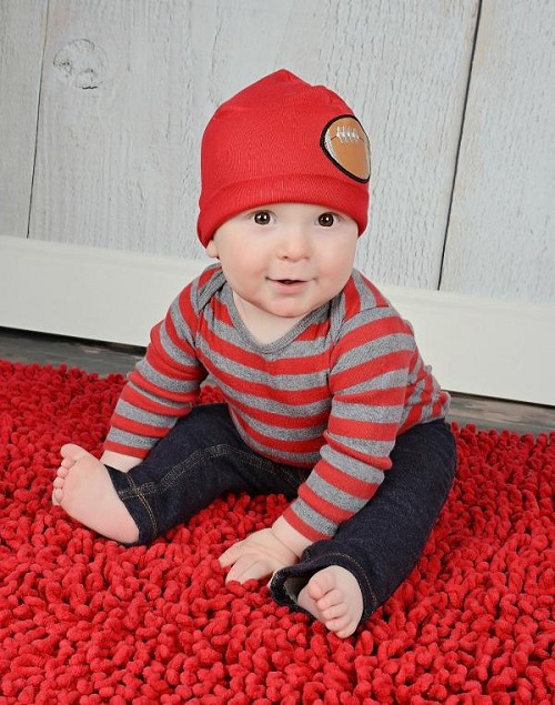 Boy's Red Applique Cotton Hat with Football