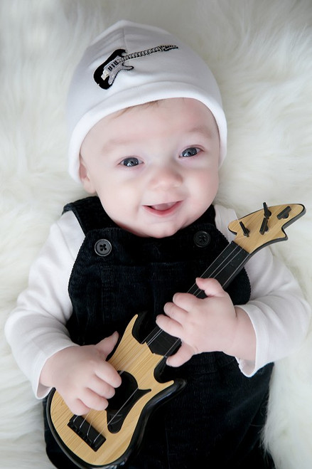 Boy's White Applique Cotton Hat with Black Guitar