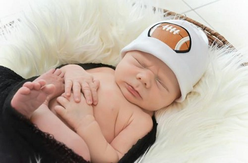 Boy's White Applique Cotton Hat with Football