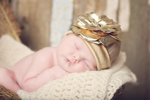 Jamie Rae Hats Gold Couture with Metallic Gold Rose