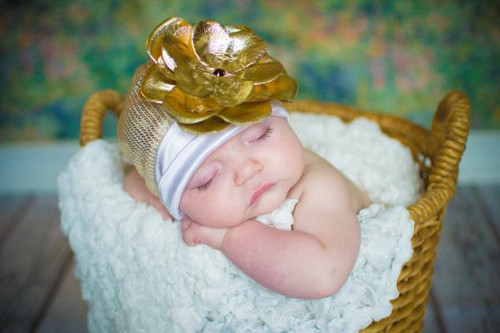 Jamie Rae Hats Gold White Couture with Metallic Gold Rose