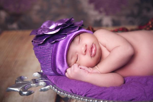 Jamie Rae Hats Purple Couture with Metallic Purple Rose