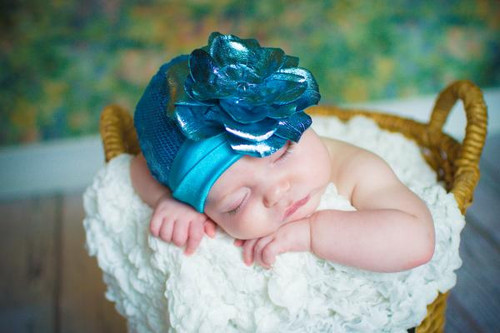 Jamie Rae Hats Teal Couture with Metallic Teal Rose