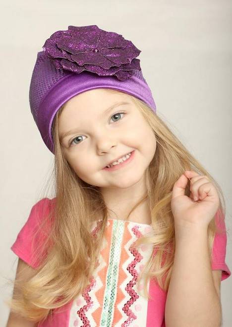 Jamie Rae Hats Purple Couture with Sequins Purple Rose