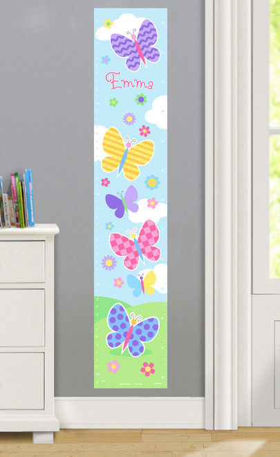 Butterfly Garden Personalized Decal Growth Chart