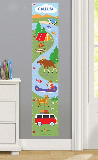Camping Trip Personalized Decal Growth Chart