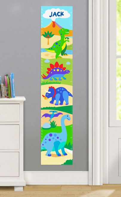 Dinosaur Land Personalized Decal Growth Chart