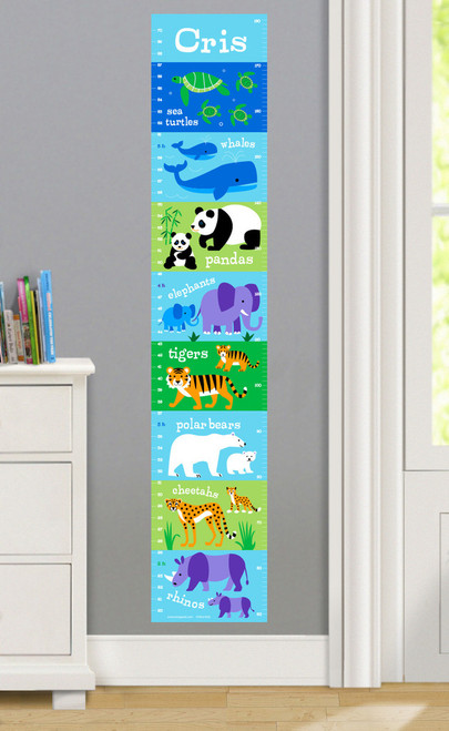 Endangered Animals Personalized Decal Growth Chart
