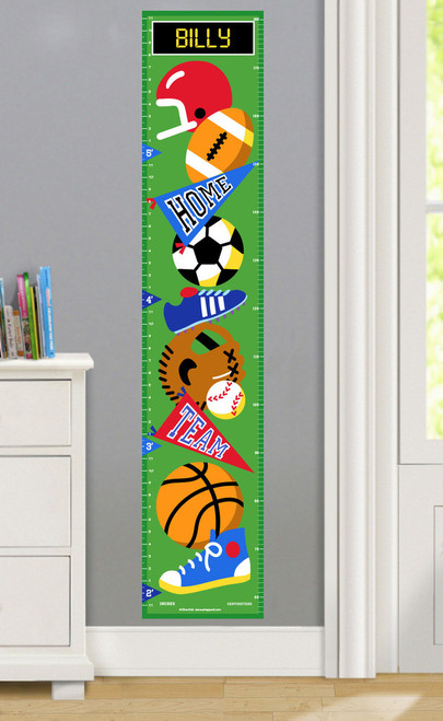 Game On Personalized Decal Growth Chart