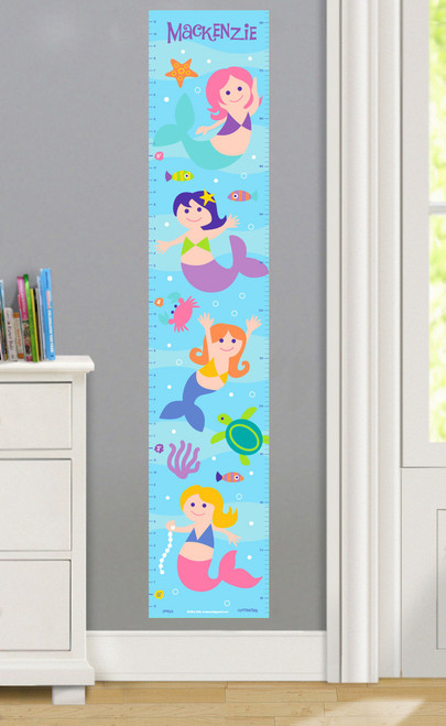 Mermaids Personalized Decal Growth Chart