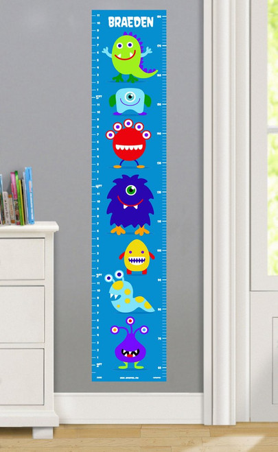 Monsters Personalized Decal Growth Chart