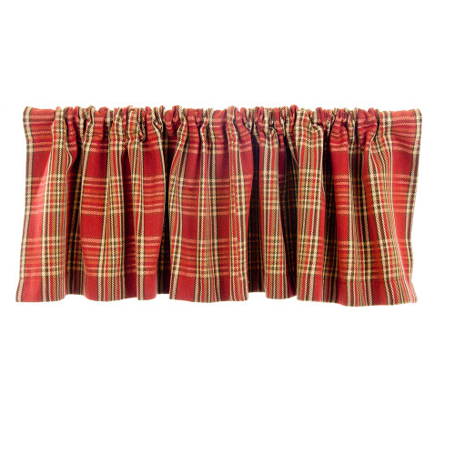"""Carson Rod Pocket Window Valance (Woven Red Plaid) (Approx 70x18"""")"""