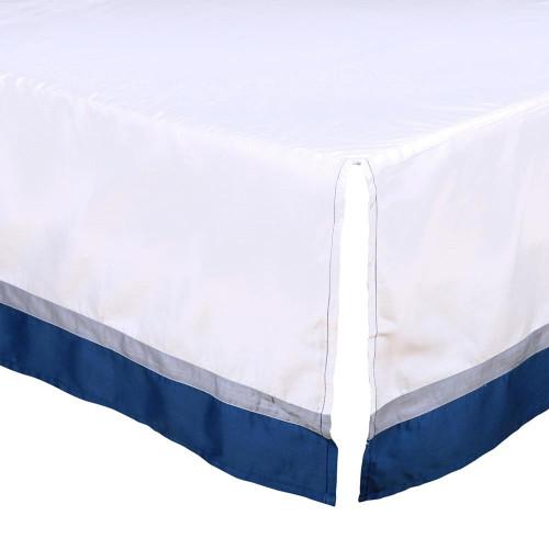 Navy and Grey Crib Dust Ruffle