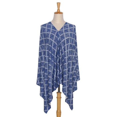 The Peanut Shell Navy Aztec 6-in-1 Nursing Poncho in Navy and White