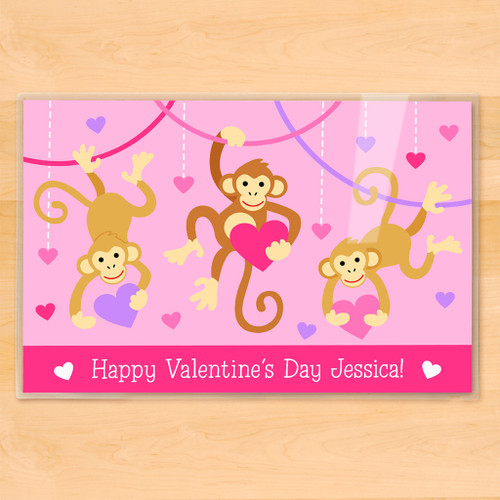 Valentine's Day Monkeys Personalized Kids Placemat