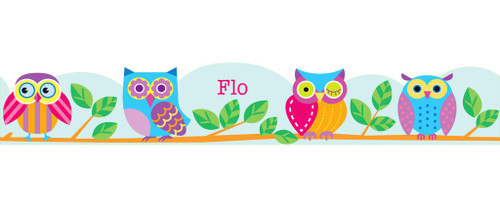 Owls Personalized Kids Decal Wall Border
