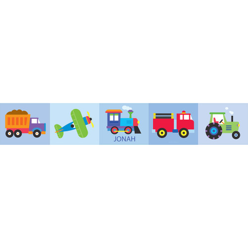 Trains, Planes & Trucks Personalized Kids Decal Wall Border