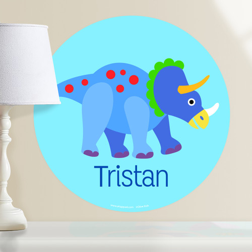 Dinosaur Land Triceratops Personalized Kids Wall Dotz Decal by Olive Kids
