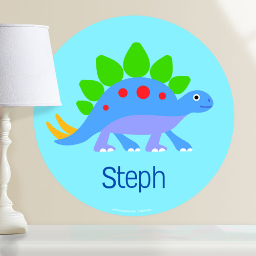 Dinosaur Land Stegosaurus Personalized Kids Wall Dotz Decal by Olive Kids