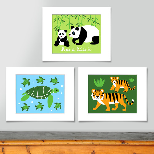 Endangered Species Personalized Art Print - Set of 3