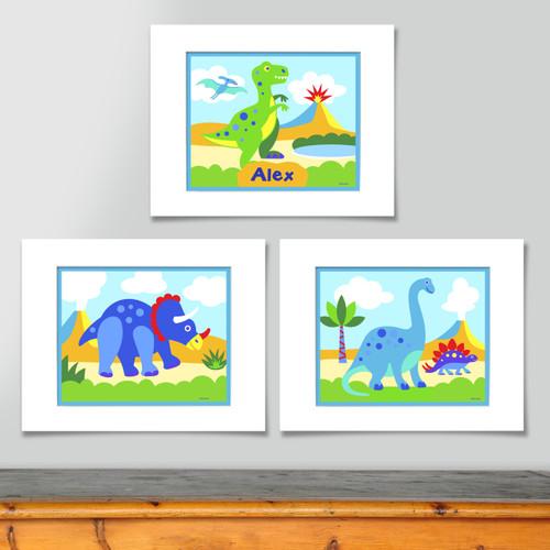 Dinosaur Land Personalized Art Print - Set of 3
