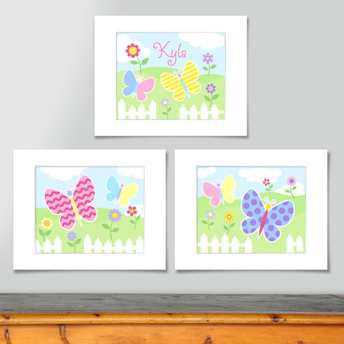 Butterfly Garden Personalized Art Print - Set of 3
