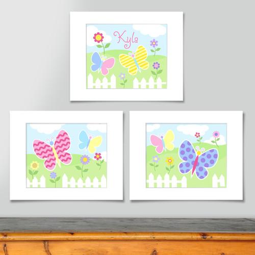 Butterfly Garden Personalized Art Print - Set of 3