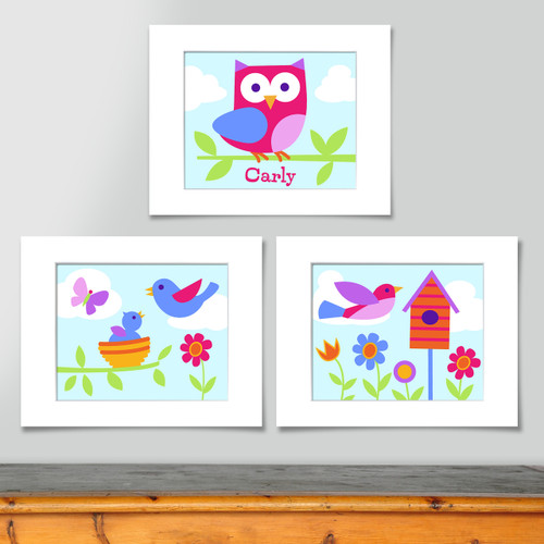 Birdie Personalized Art Print - Set of 3