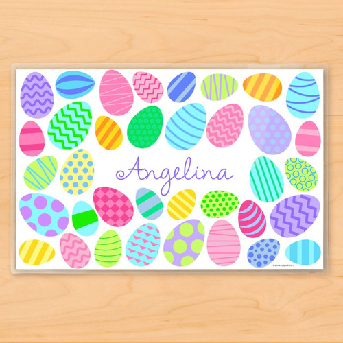 Colorful Easter Eggs Personalized Kids Placemat