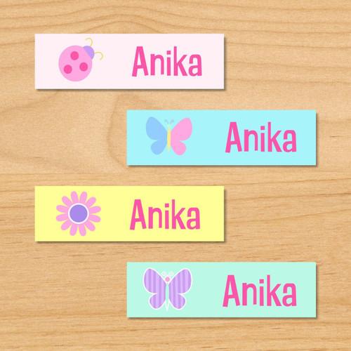 Butterfly Garden Personalized Mini Kids Waterproof Labels