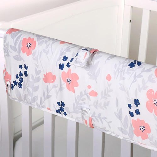 Coral Floral Crib Rail Guard