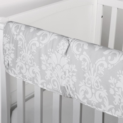 Grey Damask Crib Rail Guard