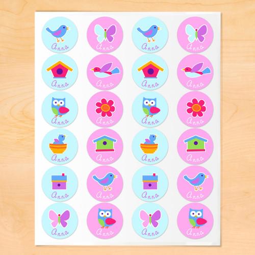 Birdie Personalized Round Kids Waterproof Labels