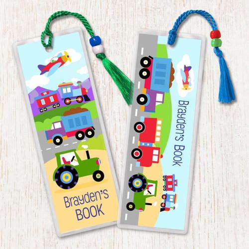 Trains, Planes & Trucks Personalized Kids Bookmark Set - of 2