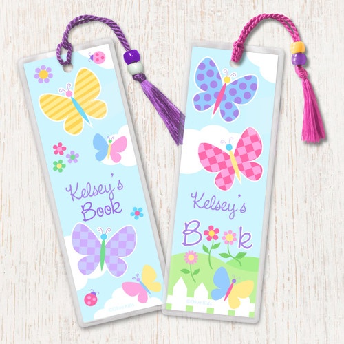 Butterfly Garden Personalized Kids Bookmark Set of 2
