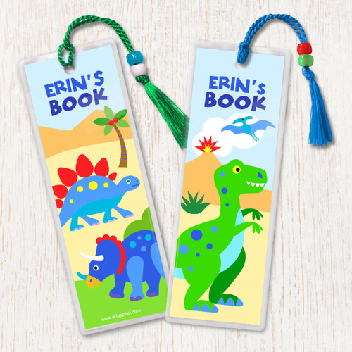 Dinosaur Land Personalized Kids Bookmark Set of 2
