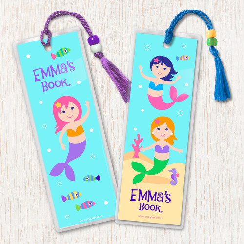 Mermaids Personalized Kids Bookmark Set of 2