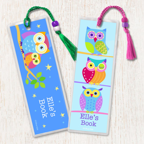 Owls Personalized Kids Bookmark Set of 2
