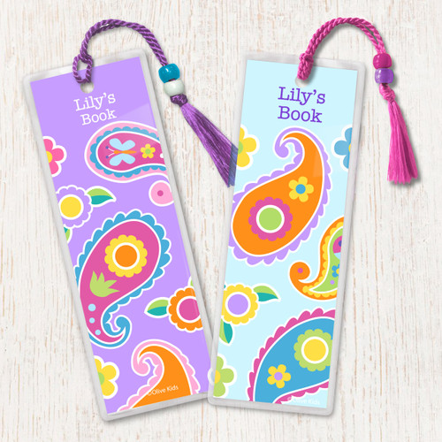 Paisley Dreams Personalized Kids Bookmark Set of 2