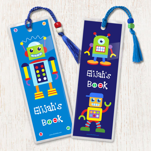 Little Robots Personalized Kids Bookmark Set of 2
