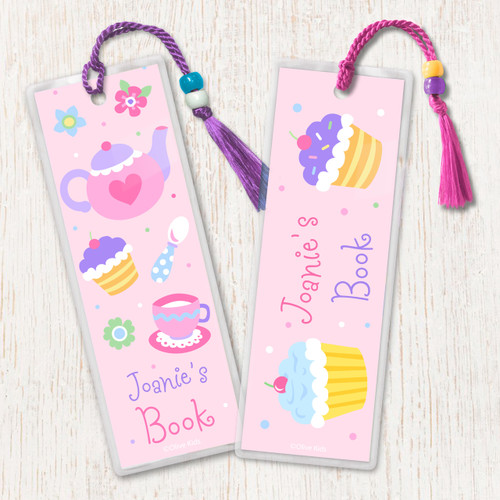 Tea Party Personalized Kids Bookmark Set of 2