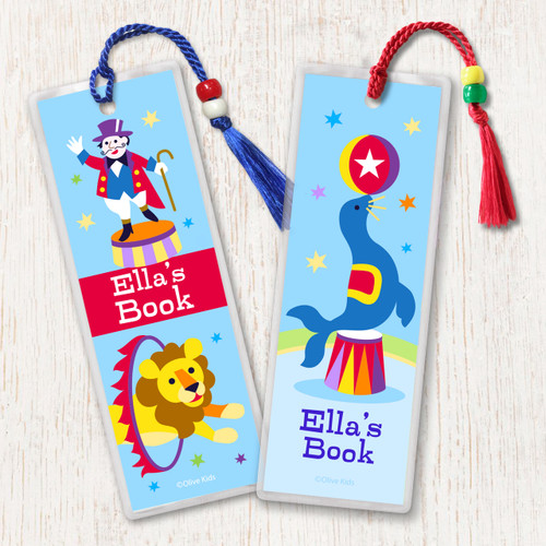 Big Top Circus Personalized Kids Bookmark Set of 2