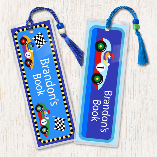 Vroom Race Cars Personalized Kids Bookmark Set of 2