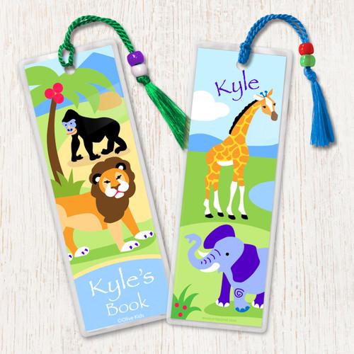 Wild Animals Personalized Kids Bookmark Set of 2