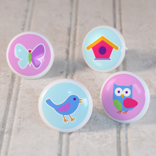Birdie Set of 4 Small Kids Drawer Knobs - Ceramic